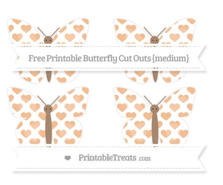 Free Pastel Orange Heart Pattern Medium Butterfly Cut Outs