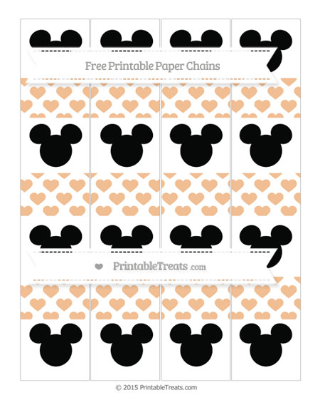 Free Pastel Orange Heart Pattern Mickey Mouse Paper Chains
