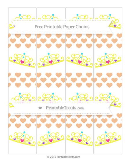 Free Pastel Orange Heart Pattern Princess Tiara Paper Chains
