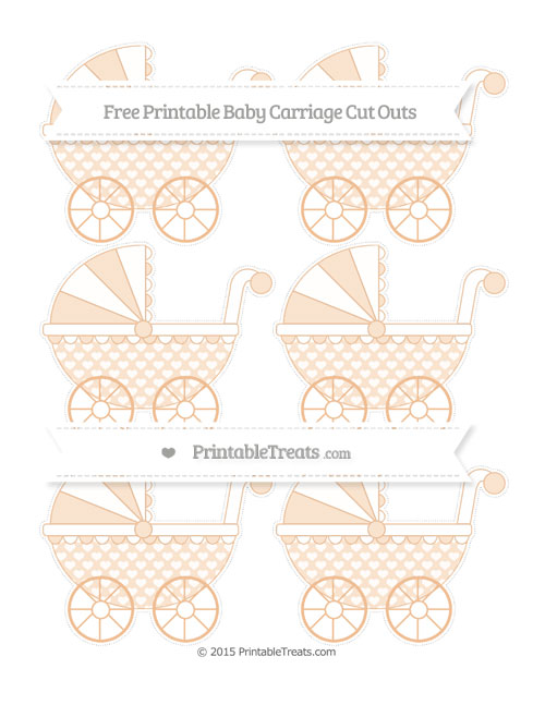 Free Pastel Orange Heart Pattern Small Baby Carriage Cut Outs