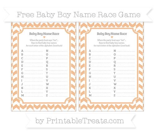 Free Pastel Orange Herringbone Pattern Baby Boy Name Race Game