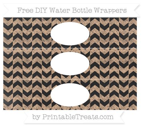 Free Pastel Orange Herringbone Pattern Chalk Style DIY Water Bottle Wrappers