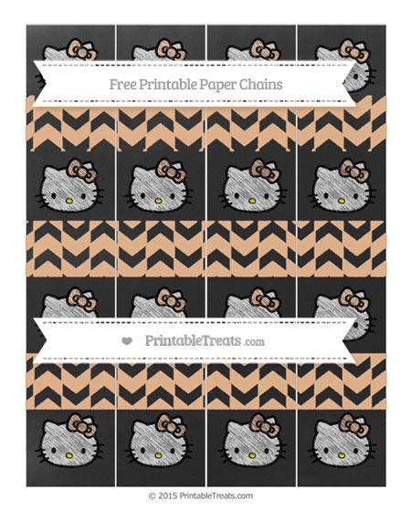 Free Pastel Orange Herringbone Pattern Chalk Style Hello Kitty Paper Chains