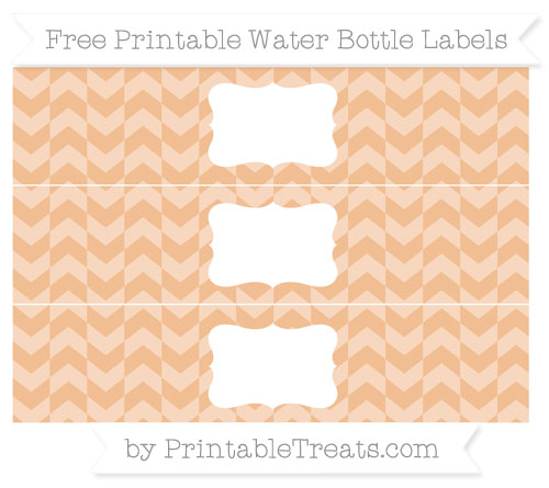 Free Pastel Orange Herringbone Pattern Water Bottle Labels