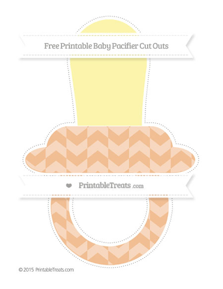 Free Pastel Orange Herringbone Pattern Extra Large Baby Pacifier Cut Outs