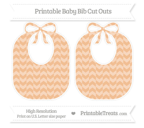 Free Pastel Orange Herringbone Pattern Large Baby Bib Cut Outs