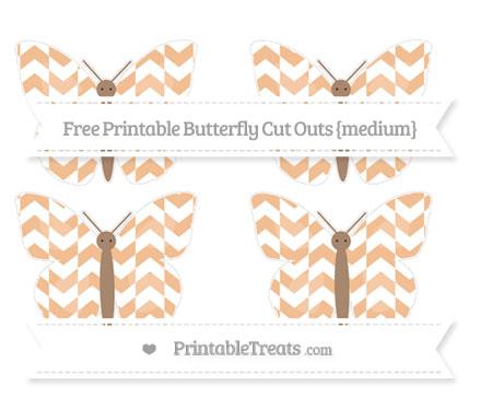 Free Pastel Orange Herringbone Pattern Medium Butterfly Cut Outs