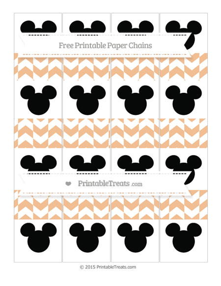 Free Pastel Orange Herringbone Pattern Mickey Mouse Paper Chains