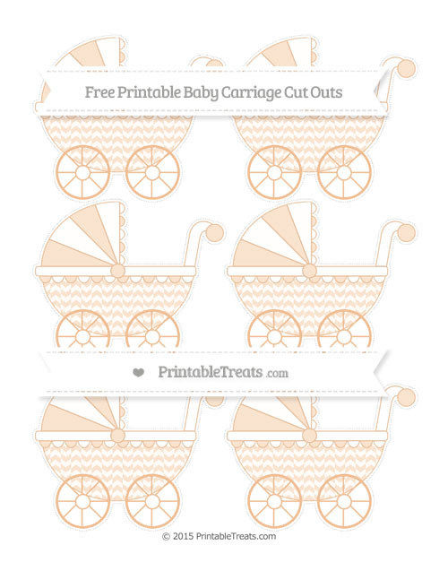 Free Pastel Orange Herringbone Pattern Small Baby Carriage Cut Outs