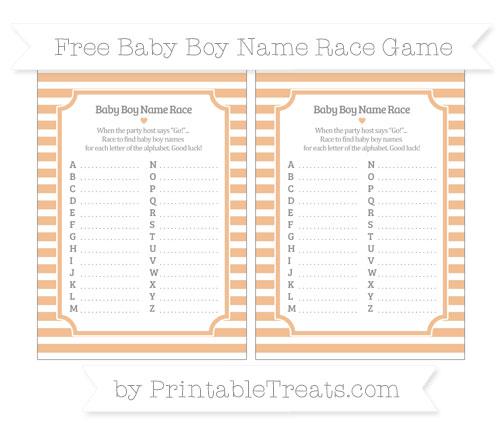 Free Pastel Orange Horizontal Striped Baby Boy Name Race Game
