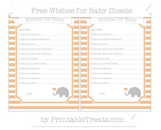Free Pastel Orange Horizontal Striped Baby Elephant Wishes for Baby Sheets