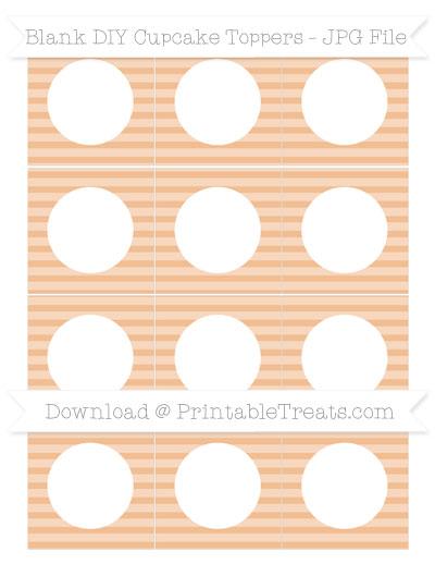 Free Pastel Orange Horizontal Striped Blank DIY Cupcake Toppers
