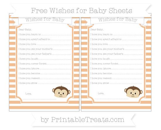 Free Pastel Orange Horizontal Striped Boy Monkey Wishes for Baby Sheets