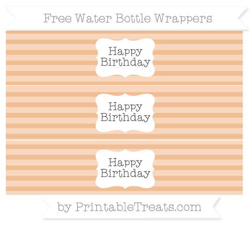 Free Pastel Orange Horizontal Striped Happy Birhtday Water Bottle Wrappers