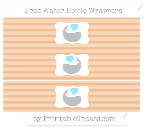 Free Pastel Orange Horizontal Striped Whale Water Bottle Wrappers