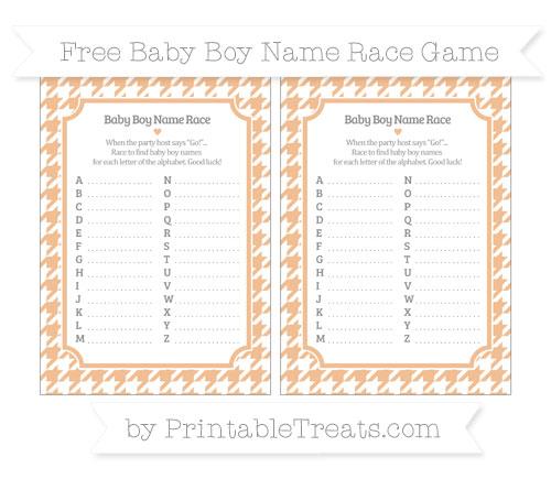 Free Pastel Orange Houndstooth Pattern Baby Boy Name Race Game