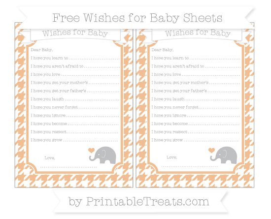 Free Pastel Orange Houndstooth Pattern Baby Elephant Wishes for Baby Sheets