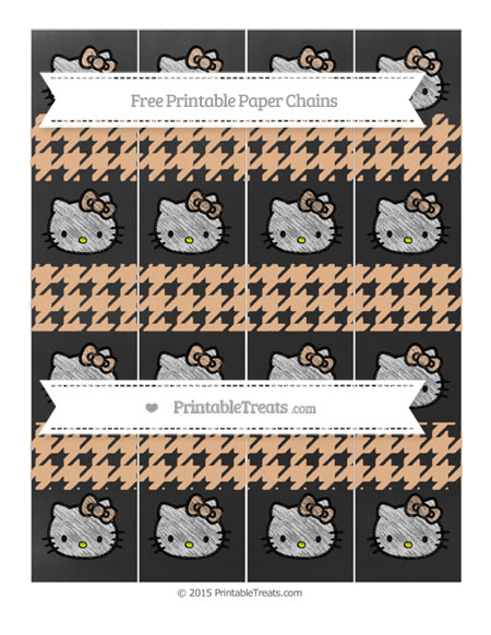 Free Pastel Orange Houndstooth Pattern Chalk Style Hello Kitty Paper Chains