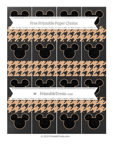 Free Pastel Orange Houndstooth Pattern Chalk Style Mickey Mouse Paper Chains