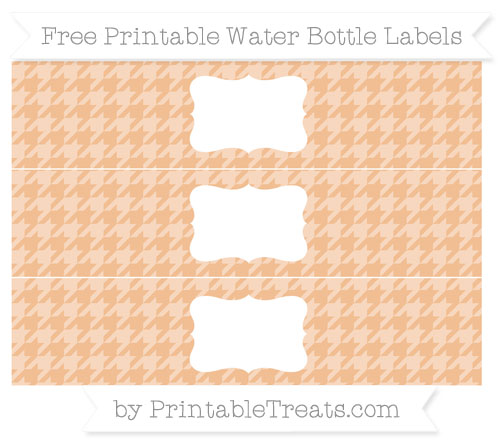 Free Pastel Orange Houndstooth Pattern Water Bottle Labels
