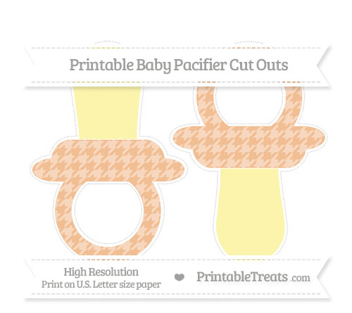 Free Pastel Orange Houndstooth Pattern Large Baby Pacifier Cut Outs