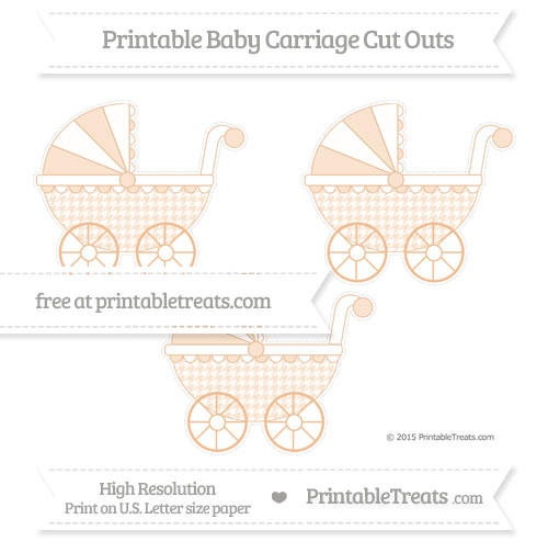 Free Pastel Orange Houndstooth Pattern Medium Baby Carriage Cut Outs