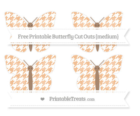 Free Pastel Orange Houndstooth Pattern Medium Butterfly Cut Outs