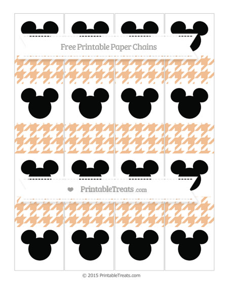 Free Pastel Orange Houndstooth Pattern Mickey Mouse Paper Chains