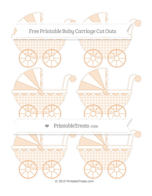 Free Pastel Orange Houndstooth Pattern Small Baby Carriage Cut Outs