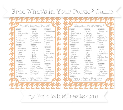 Free Pastel Orange Houndstooth Pattern What's in Your Purse Baby Shower Game