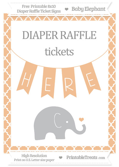 Free Pastel Orange Moroccan Tile Baby Elephant 8x10 Diaper Raffle Ticket Sign