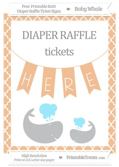 Free Pastel Orange Moroccan Tile Baby Whale 8x10 Diaper Raffle Ticket Sign