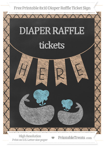 Free Pastel Orange Moroccan Tile Chalk Style Baby Whale 8x10 Diaper Raffle Ticket Sign