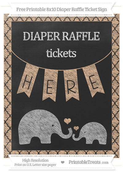 Free Pastel Orange Moroccan Tile Chalk Style Elephant 8x10 Diaper Raffle Ticket Sign