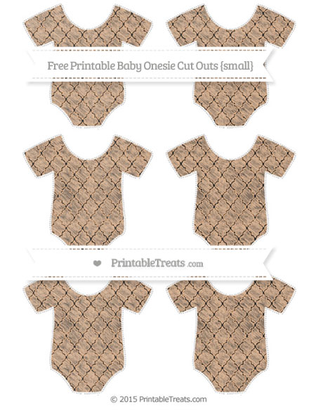 Free Pastel Orange Moroccan Tile Chalk Style Small Baby Onesie Cut Outs