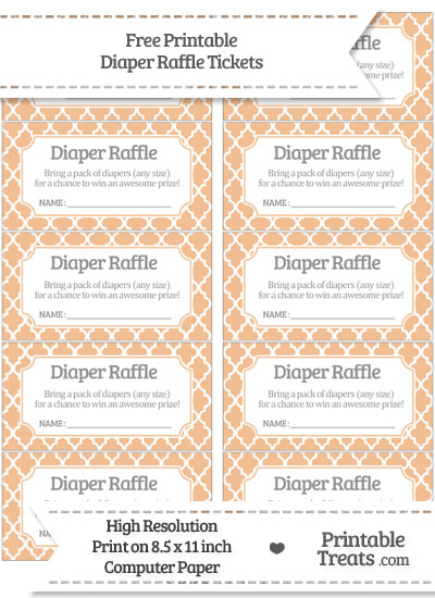 Free Pastel Orange Moroccan Tile Diaper Raffle Tickets