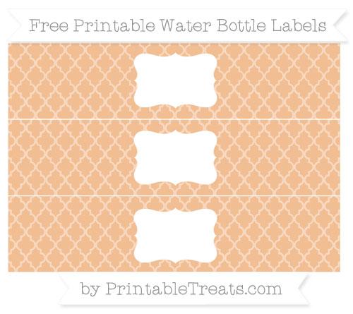 Free Pastel Orange Moroccan Tile Water Bottle Labels
