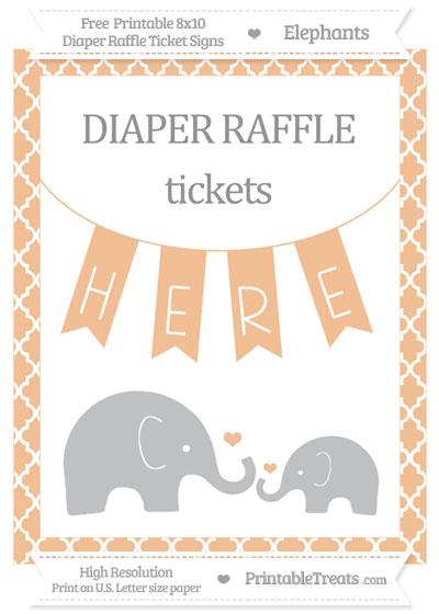 Free Pastel Orange Moroccan Tile Elephant 8x10 Diaper Raffle Ticket Sign