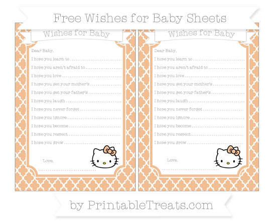 Free Pastel Orange Moroccan Tile Hello Kitty Wishes for Baby Sheets