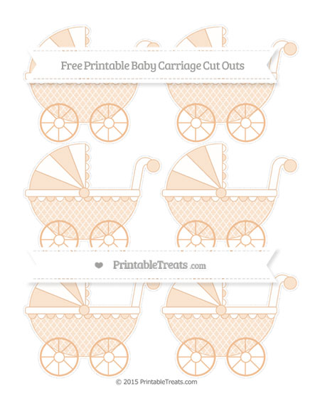 Free Pastel Orange Moroccan Tile Small Baby Carriage Cut Outs