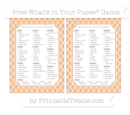 Free Pastel Orange Moroccan Tile What's in Your Purse Baby Shower Game