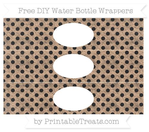 Free Pastel Orange Polka Dot Chalk Style DIY Water Bottle Wrappers