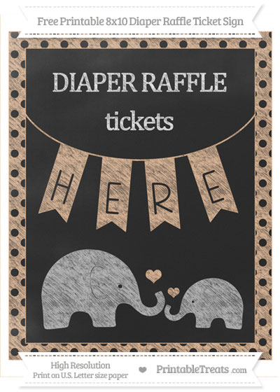 Free Pastel Orange Polka Dot Chalk Style Elephant 8x10 Diaper Raffle Ticket Sign