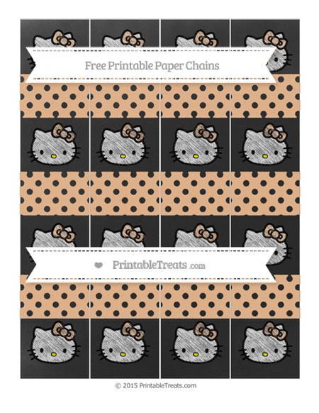 Free Pastel Orange Polka Dot Chalk Style Hello Kitty Paper Chains