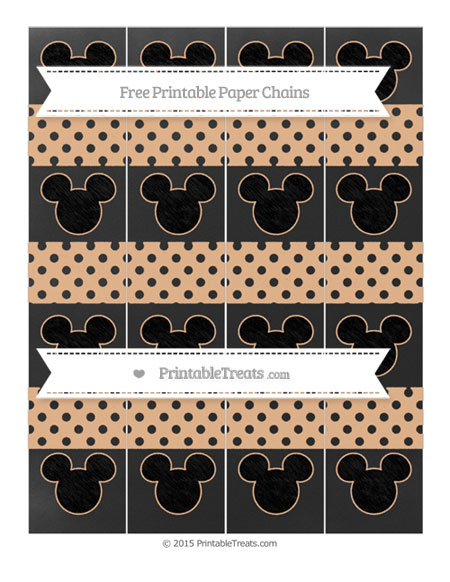 Free Pastel Orange Polka Dot Chalk Style Mickey Mouse Paper Chains