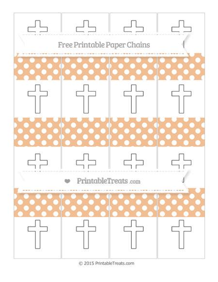 Free Pastel Orange Polka Dot Cross Paper Chains