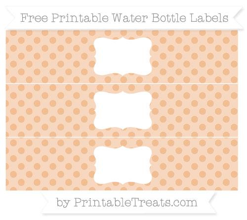 Free Pastel Orange Polka Dot Water Bottle Labels