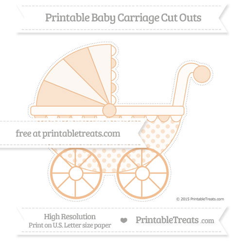 Free Pastel Orange Polka Dot Extra Large Baby Carriage Cut Outs