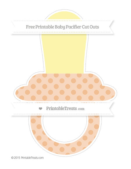 Free Pastel Orange Polka Dot Extra Large Baby Pacifier Cut Outs