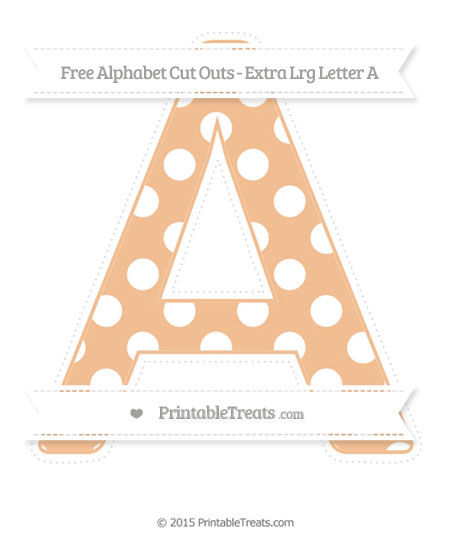 Free Pastel Orange Polka Dot Extra Large Capital Letter A Cut Outs